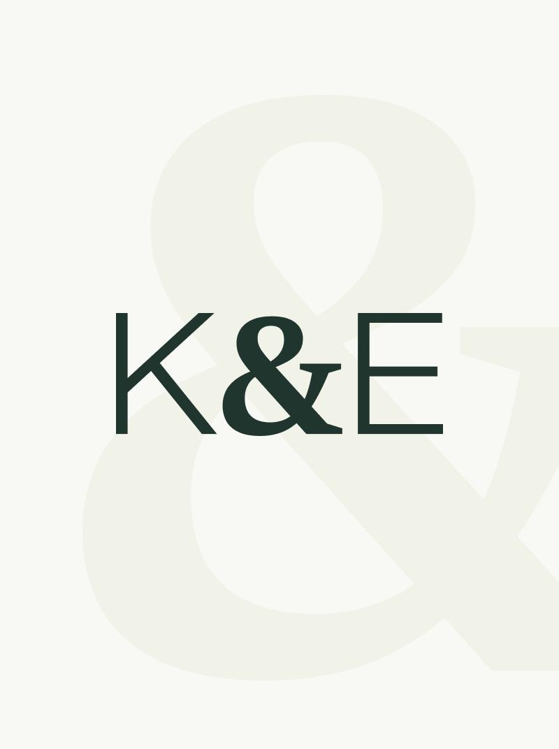 Kent and Essex monogram logo with ampersands watermark