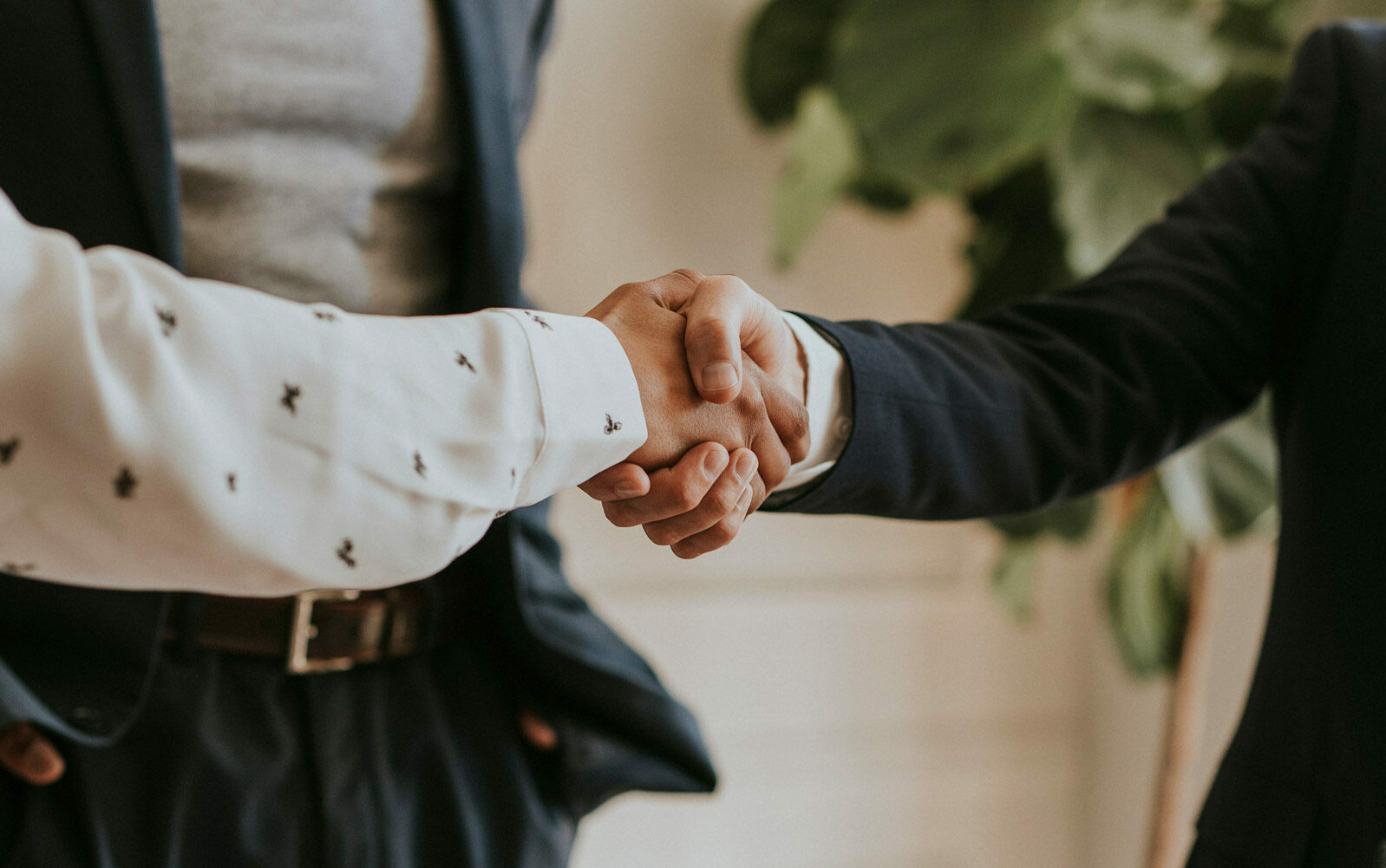 Shot of two people shaking hands