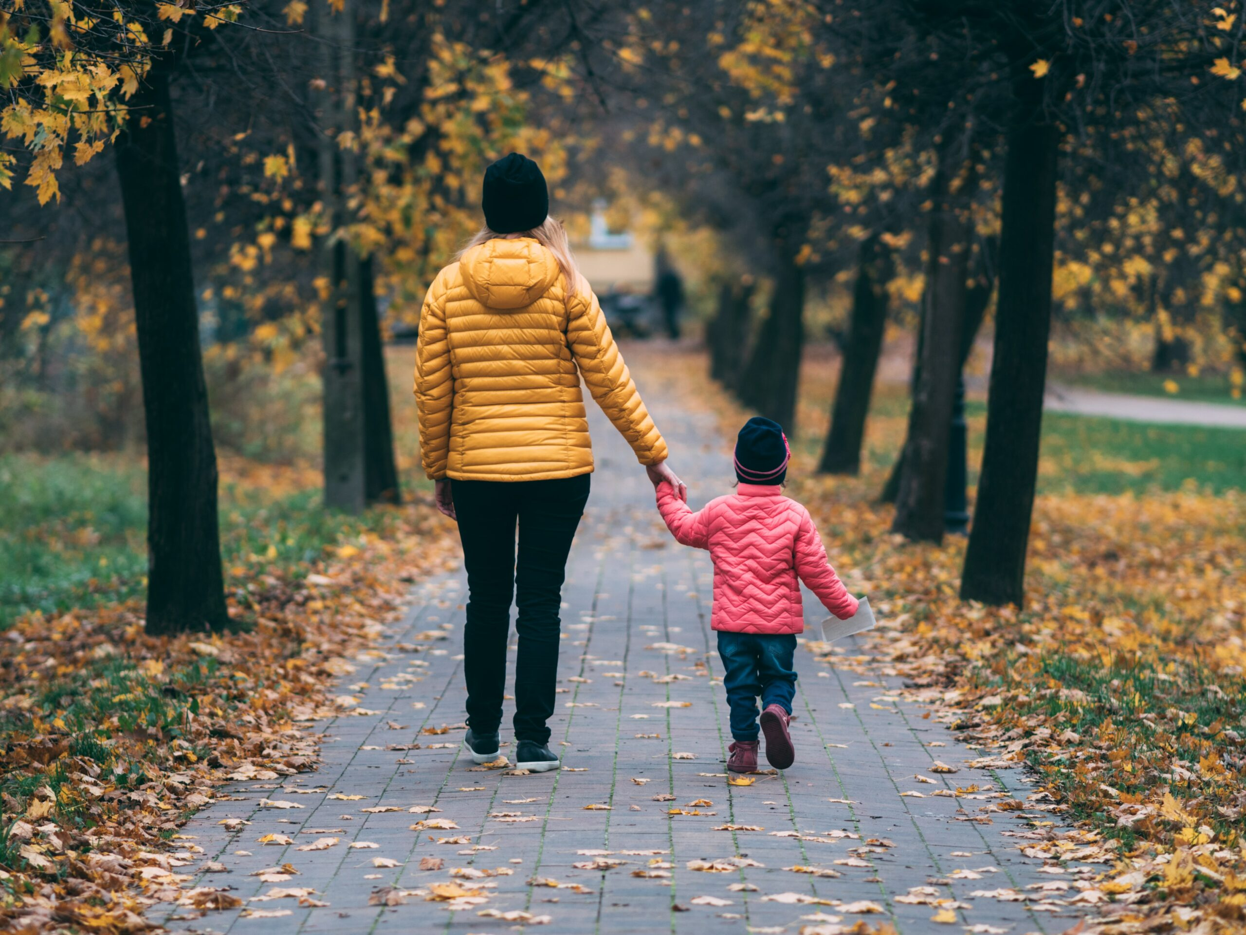 Parent and child holding hands on a path flanked with trees