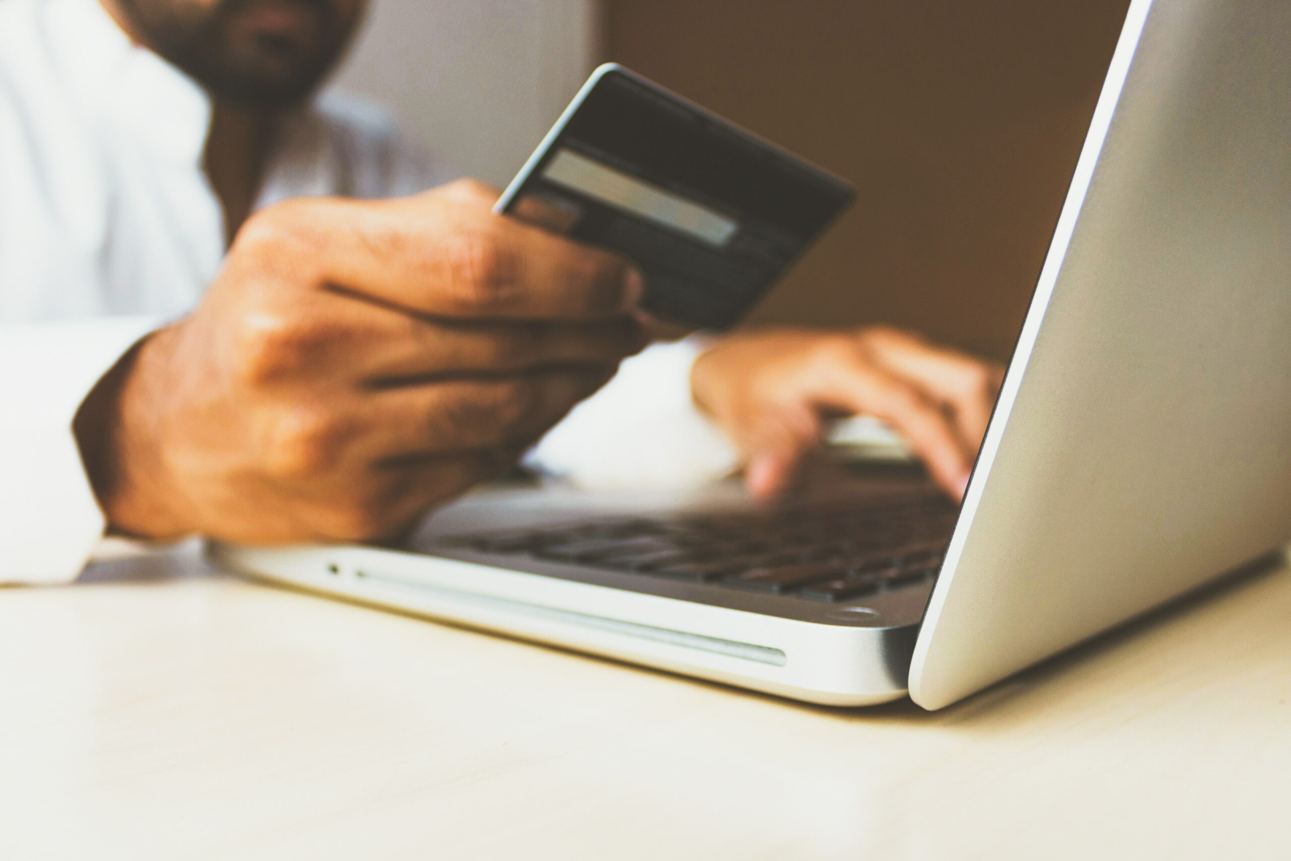 using a credit card to make payment on computer